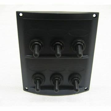 6 GANG 12v WATER RESISTANT MARINE BLACK SWITCH PANEL (10064) boat splashproof